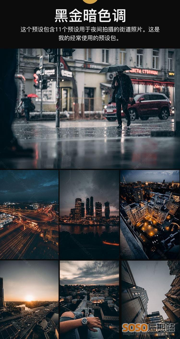 16套169款黑金Lightroom预设城市夜景暗系工业风胶片ins滤镜手机LR调色