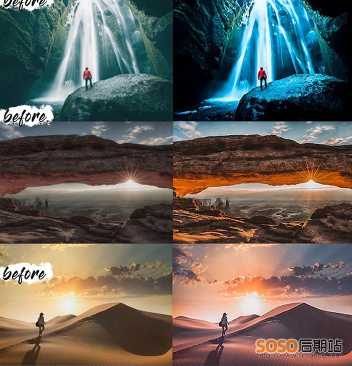 9款国外大神精制LR调色预设旅行风光电影色级别调色预设lightroom
