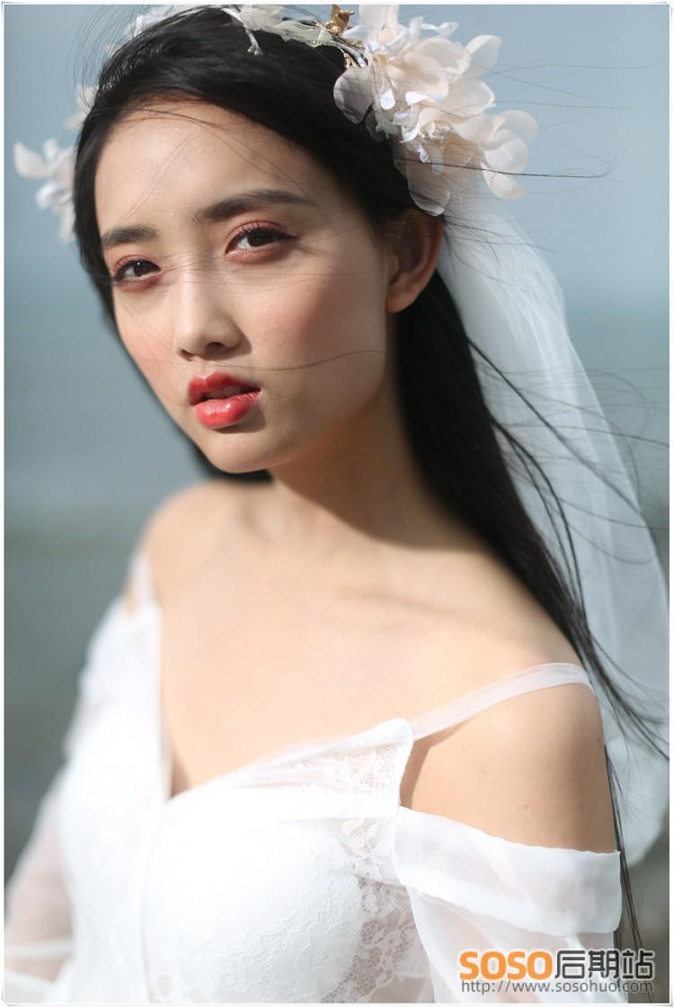 10P海边婚纱美女RAW原始图片素材 高清照片
