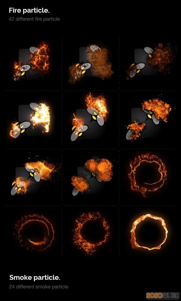 AE模板 炫酷烟雾粉尘魔法火焰粒子特效一键生成工具包(含脚本+使用教程)
