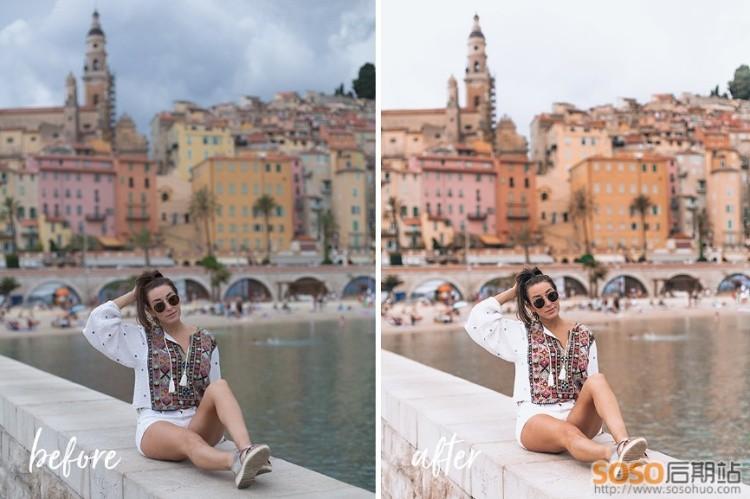 15款LR预设 欧洲旅行冒险摄影博主户外人像风景调色Travel Influencer
