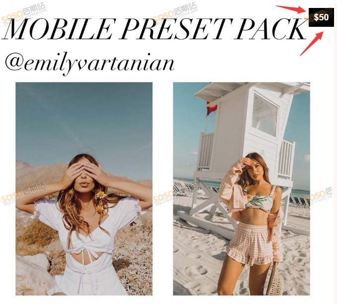 4套12款全集 INS时尚博主Emily Vartanian LR预设手机版Lightroom全套滤镜