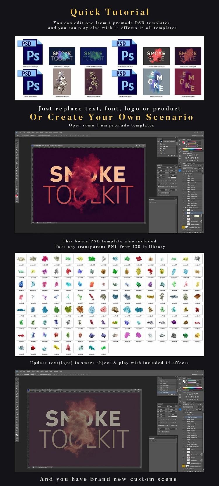 PS特效素材 上百款彩色烟雾时尚特效工具包下载 包含pat和abr