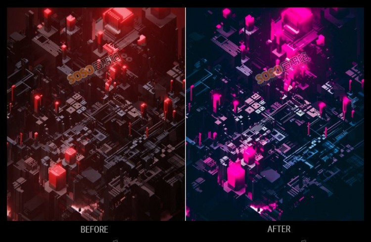 LR预设赛博朋克科幻风炫酷夜景手机Lightroom调色PS滤镜PR/AE LUT