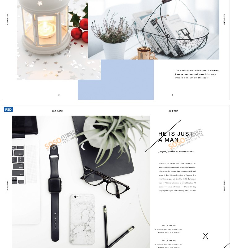 PSD模板简约文艺画册相册杂志图文排版设计素材分层源文件 配字体