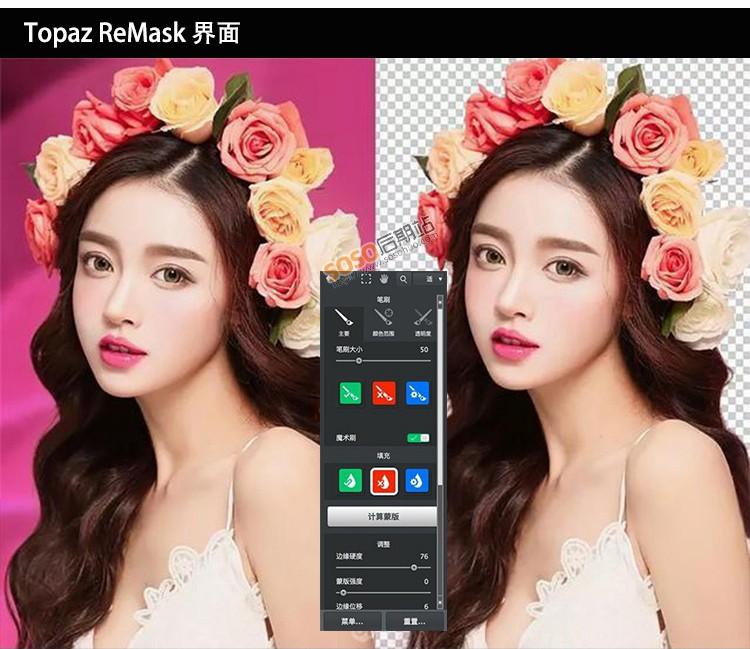 Topaz ReMask5.0.3中文汉化版WIN/MAC抠图滤镜婚纱头发丝一键抠图
