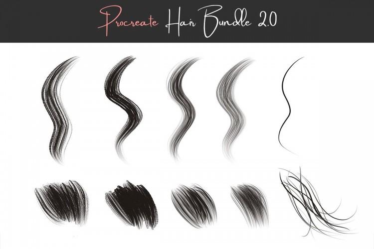 Procreate笔刷写实人物头发毛发画笔 ipad笔触发丝CG手绘笔刷下载