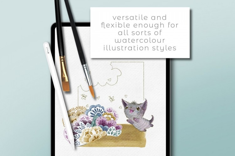 Procreate笔刷68种效果完美逼真水彩笔刷套装的iPad Pro 绘画笔刷下载