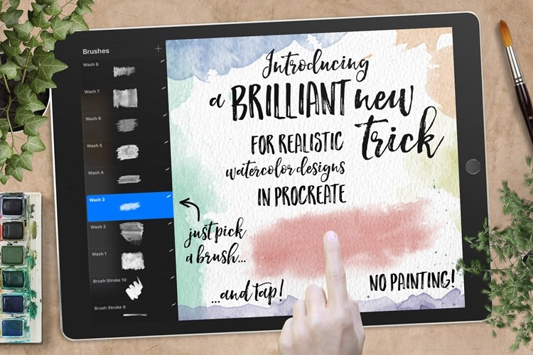 Procreate笔刷iPad绘画手绘插画漫画196款水彩印章笔刷