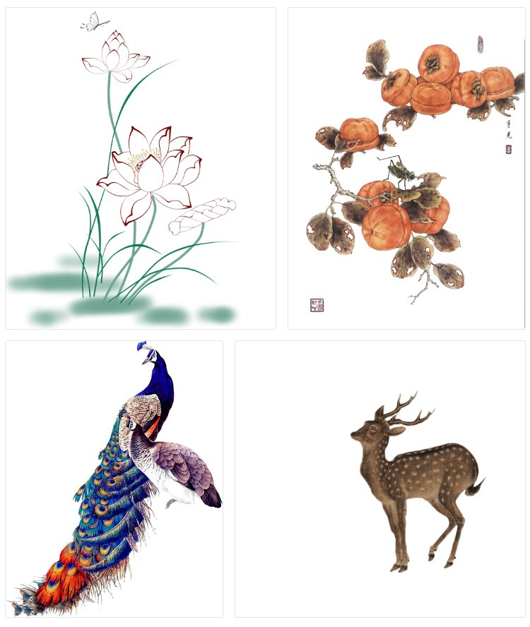 110款中国风工笔画牡丹梅花鹿仙鹤孔雀花卉折扇PNG免抠图PS后期素材模板