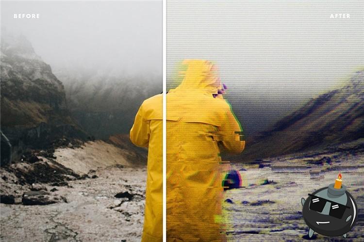 PSD模板 炫酷朋克风RGB分离扭曲色彩故障 PSD特效样机素材下载