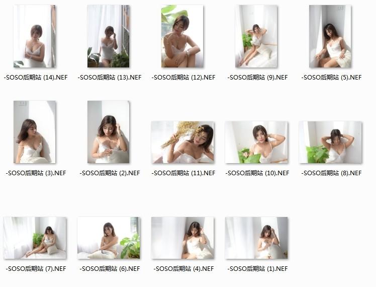 韩版甜美女生室内写真RAW原片 PS修图练习图片素材