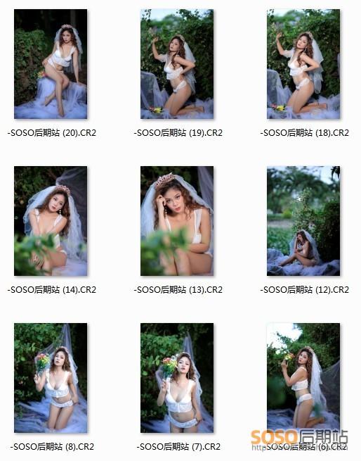 50P+RAW原片 户外婚纱私房人像写真图片素材 摄影构图参考 PS修图练习样片