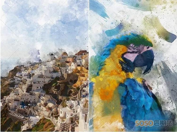 PS动作特效 中国风照片一键转手绘水墨彩画油画效果带教程 Photoshop插件设计
